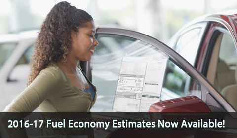 2016-2017 Fuel Economy estimates now available!  Official EPA estimates for new model year vehicles are now available and more will be added weekly