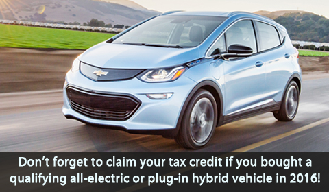 Don't forget to claim your tax credit if you bought a qualifying electric vehicle in 2016